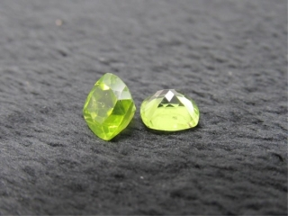 Matched Pair of Peridot Cushion Cut Gemstone-