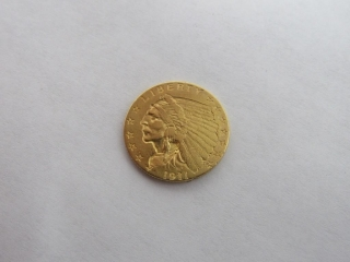 1911 Indian Head $2.50 Gold Quarter Eagle Coin-