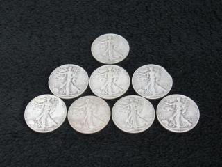 (qty - 8) 1944 Walking Liberty Half Dollars-