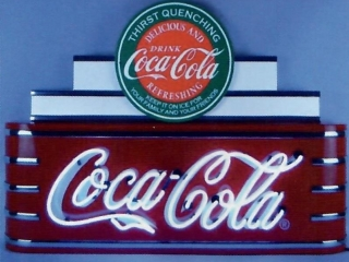 Art Deco Marquee Coca-Cola Neon Sign in Steel Can-