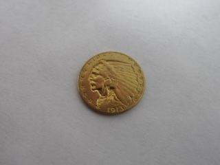 1913 Indian Head $2.50 Gold Quarter Eagle Coin-