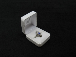 14K White Gold Antique Sapphire and Diamond Ring-