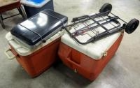Propane 2 Burner Cook Stove, Gott Insulated Chest Cooler, Qty 2 And Collapsible Box Dolly