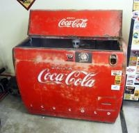 "Antique Electric Coca-Cola Chest Cooler, 2 Top Hinged Doors, 36"" X 44"" x 28"""