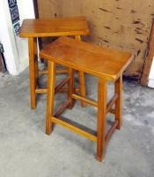 "Contemporary Solid Wood Stools, Qty 2, 24"" X 17"""