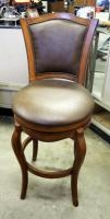 "Solid Wood Swivel Bar Stool With Upholstered Seat, Back Height 46"", Seat Height 28"""