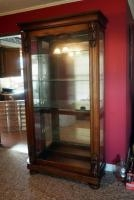"Ornate Wood Display Cabinet With Sliding Glass Door And 4 Adjustable Glass Shelves, 82"" X 44"" X 18"",..."