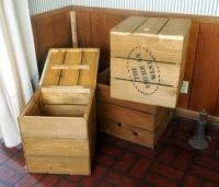 """The American West"" Wood Crate Boxes, Qty 3, 2 With Hinged Lids, 18"" X 17"" X 17"", 1 Box Without Lid,..."