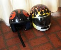 Hand Painted Motorcycle Helmets, Qty 2, Snell M90 (XL) With Full Face, M Rodz 2008 With Shield Butto...
