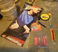 Budweiser Dale Jr. Banner, Street Rodder Wall Clock, Car Antenna, Auto Weather Stripping And Matco T...