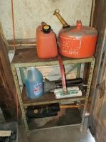 Small Storage Shelf With Gas Cans, Windshield Washer Fluid, Multi Lube Grease And More