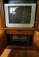 "Philips 27"" Television With Remote, Panasonic DVD Player And A Sony VHS Player"