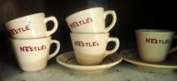 Nestle's Coffee Mugs, Qty 5, And Saucers, Qty 2