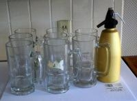 24 Oz Glass Beer Mugs, Qty 8 And Seltzer Bottle