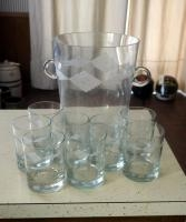 Lorraine Coyle Etched Glass Bar Ware, Including 8 Whiskey Glasses And Ice Bucket