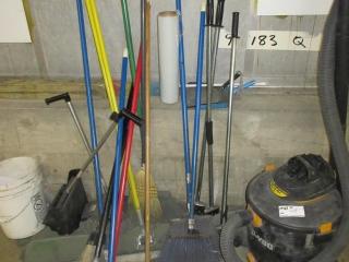 Misc. Brooms, Scrapers, Vacuum, And Mop UNRESERVED