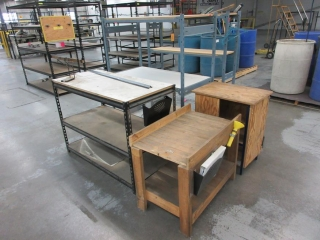 Misc Metal Shelves, Wood Cabinets And Chair UNRESERVED