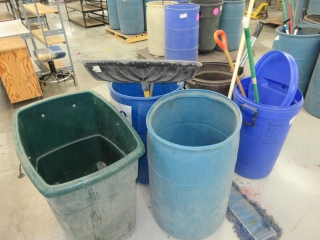 Misc. Garbage Bins, Shovels, And Brooms UNRESERVED