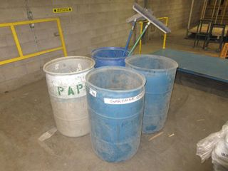 4 Garbage Cans And Brooms UNRESERVED