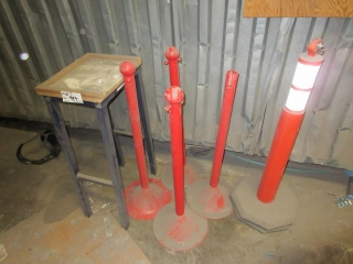 Plastic Traffic Post, Metal Posts And Work Table  UNRESERVED