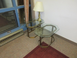 Office Desk, Hutch, End Tables And Red Carpet Rug UNRESERVED
