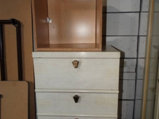 2 drawer dresser and wooden cubby.