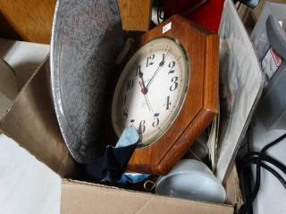 Clock, tray, pictures, and lot of silverware.
