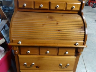 Accordion style desk and contents. Very good condition.