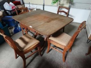 Vintage wood drop leaf dining set w/ 4 wood chairs