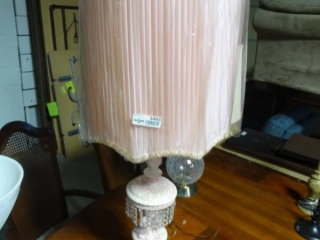 Decorative old pink lamp.