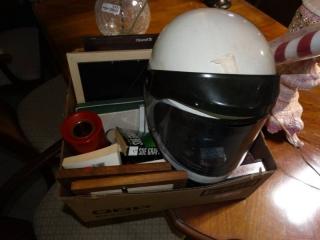 Shoei s-20 motorcycle helmet, tile art, high heels, DVDs and more.