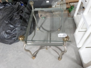Glass top and metal base end table.