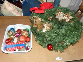 3 wreaths, ribbon and ornaments.
