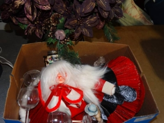 Mr and Mrs claus decor and 3 figurines.