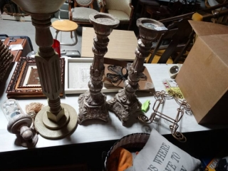 Lot of Home decor. Crosses, large candle holders, pictures.