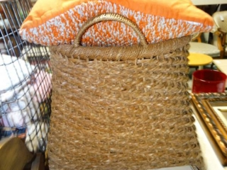 Baskets with pillow.