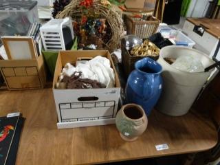 Cuckoo clock, vases, glassware and misc.