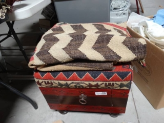 Blanket and footrest ottoman with storage.