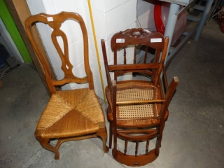 3 wooden chairs.