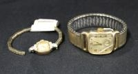 Hamilton 10k Gold Filled Men's Wrist Watch With Cracked Face And Bulova 10k RGP Ladies Wrist Watch W...