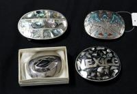 Four Southwest Style Metal Belt Buckles