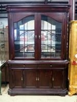 Broyhill Two Piece China Cabinet With Two Glass Shelves, Mirrored Back, Interior Lighting Powers On,...