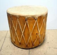 Wood Drum With Rawhide Top And Bottom, 22