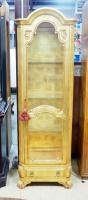 French Style Gilt Curio Cabinet With Arched Top, 3 Glass Shelves, Interior Light Powers On, Lower Dr...