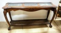 Wood And Glass Entry Table With Cane Lower Shelf, 28