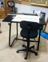 Studio RTA Adjustable Height Drafting Table, With Chair, T-Squares (2), Swingarm Lamp (Powers On) An...