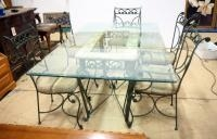 Glass Topped Dining Table With Beveled Edge, 30