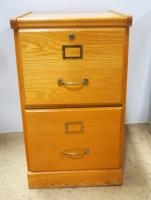 Wood 2-Drawer Filing Cabinet, Letter Size, Has Key, Small Crack In Corner On Top