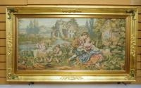 Tapestry Artwork Of Colonial Family On A Farm, Gilt Frame, 47