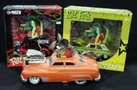Rat Fink 1:24 Scale Diecast Models, Includes 1964 Ford Fairlane Thunderbolt, 1950 Divco Delivery Tru...